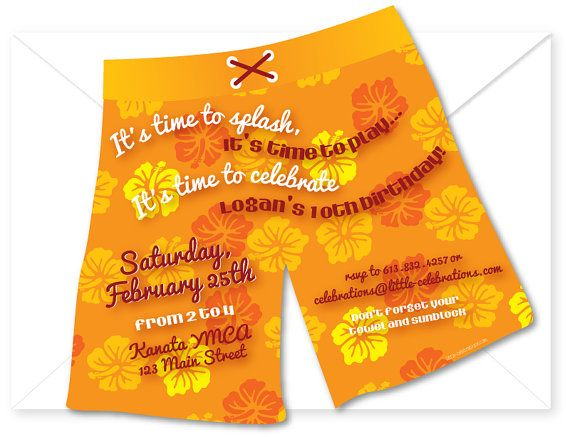 Boys pool party printable birthday invitation with swim trunks – Homemade Pool Party Invitations