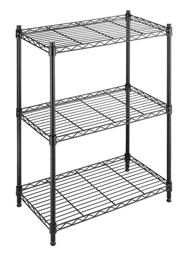 Storage Shelf Organizer Adjustable 3 Tier Stylish Black Garage ...