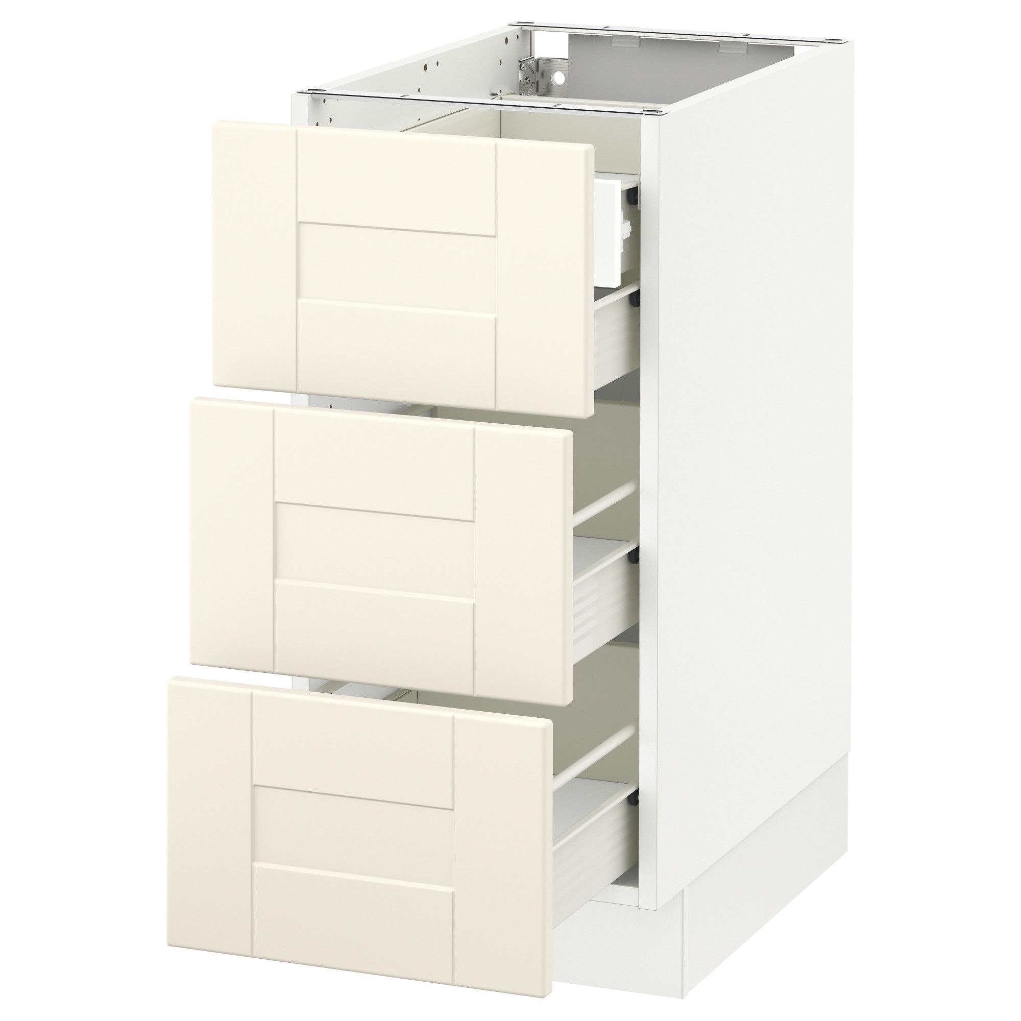 IKEA   SEKTION White Base Cabinet W/3 Fronts U0026 4 Drawers Frame Colour: