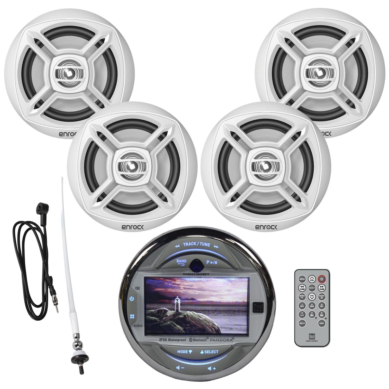 New Dual Mgh30bt Waterproof Marine Boat Digital Media Stereo Receiver Easy Mount With Bluetooth Pandora And Usb Aux Wit Marine Audio Boat Audio Marine Stereo