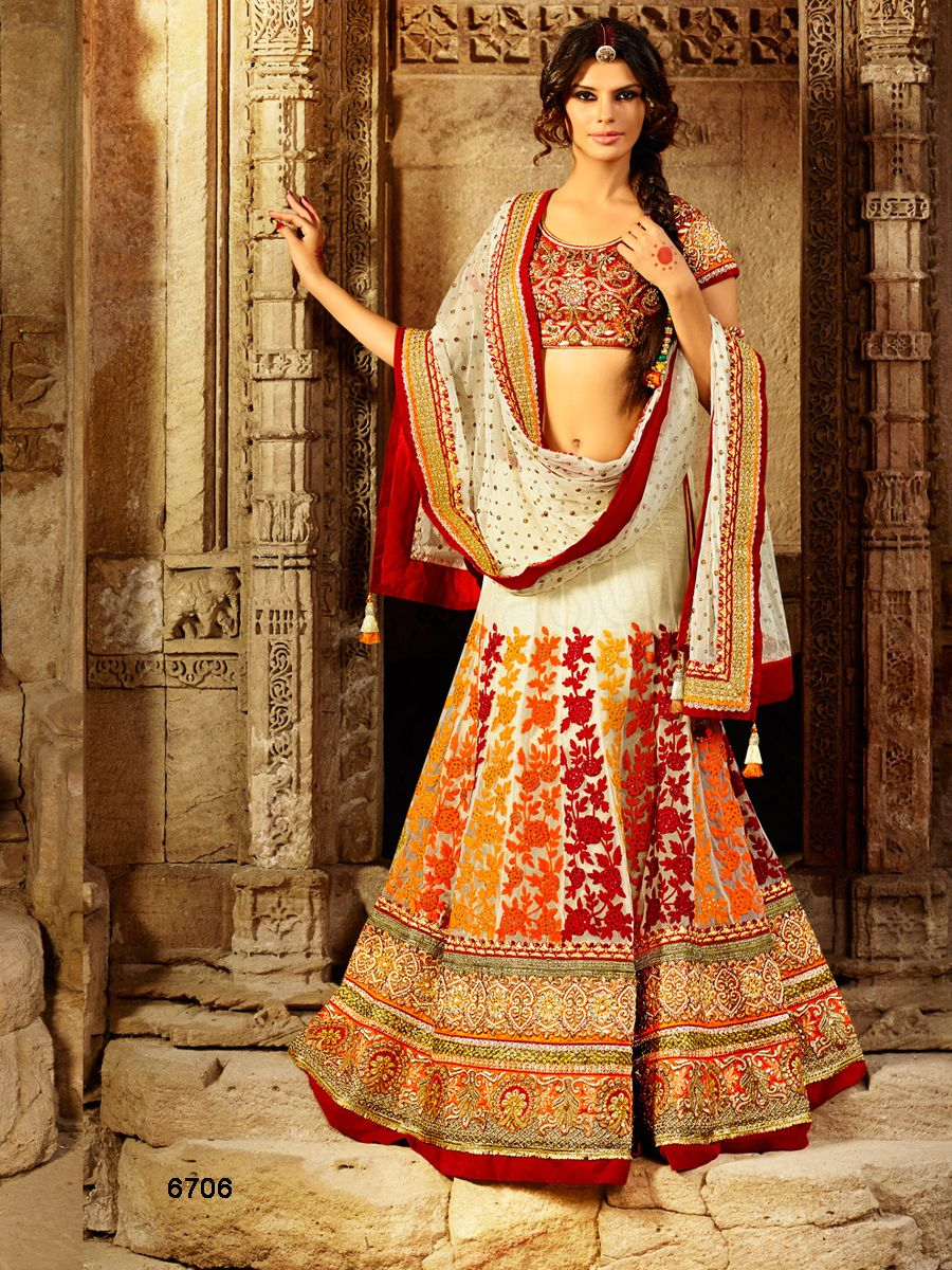 Designer Lehenga CholiCream Red Indian WearDesi Fashion Natasha