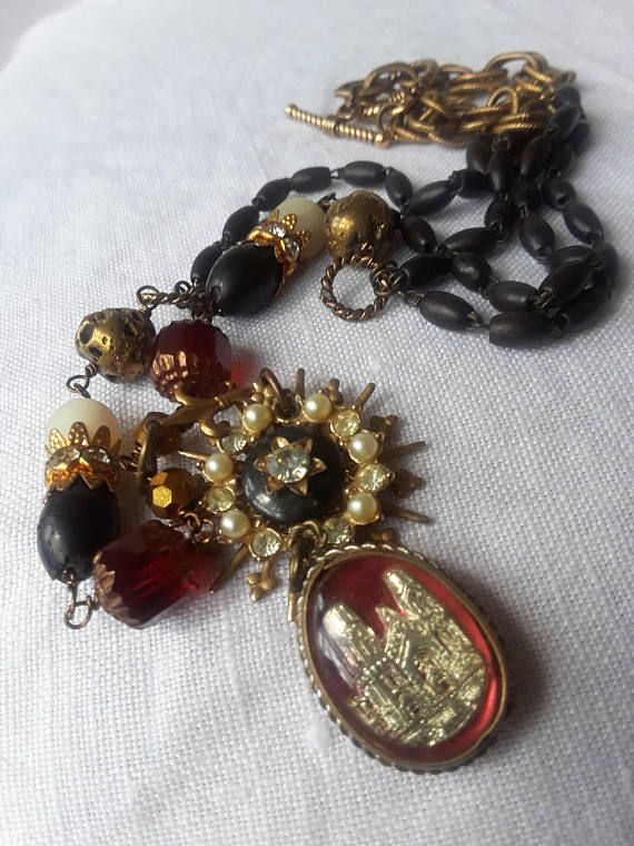 Vintage repurposed assemblage gothic necklace rosary jewelry religious atelier paris on Etsy antique french renaissance mercury glass bubble #rosaryjewelry