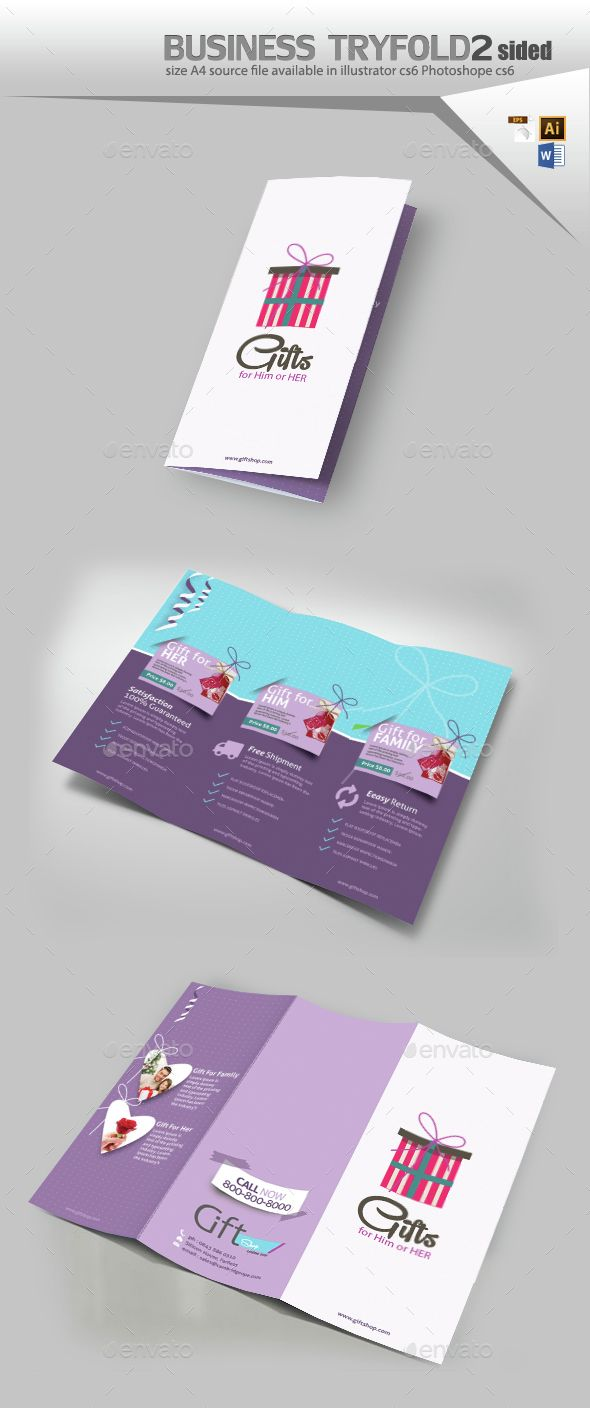 EPS  Gift Shop Tri fold Brochure  Template  • Click here to download ! http://graphicriver.net/item/gift-shop-tri-fold-brochure-/15434053?ref=pxcr