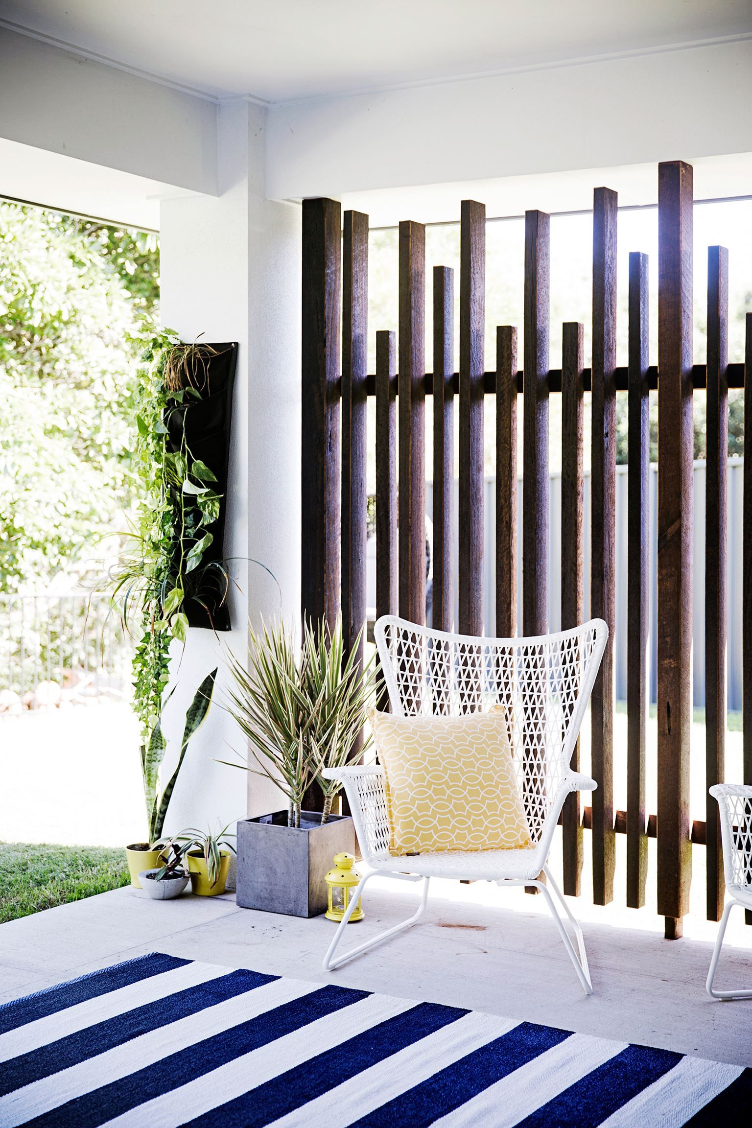 Timber wall to replace lattice ikea chair spotlight rug for Outdoor privacy screen designs