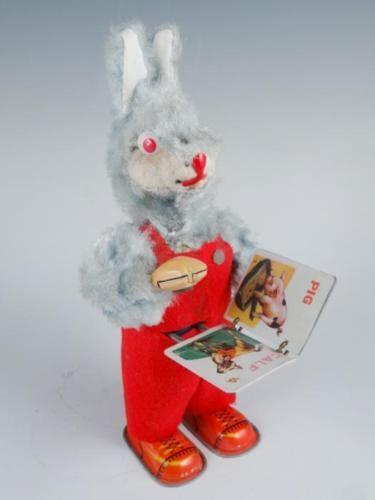 vintage 1950s tin litho wind up rabbit reading baby book toy rh pinterest com