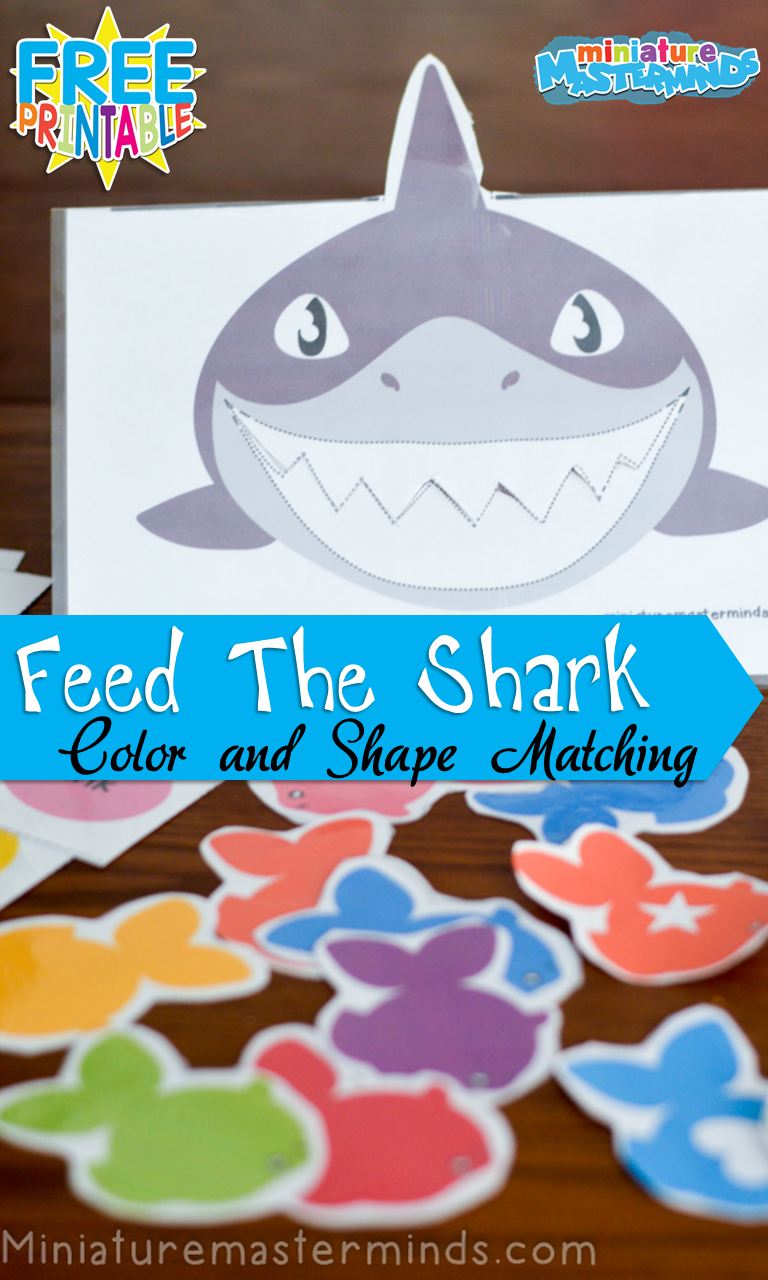 Feed The Shark Colors And Shapes Matching Activity For