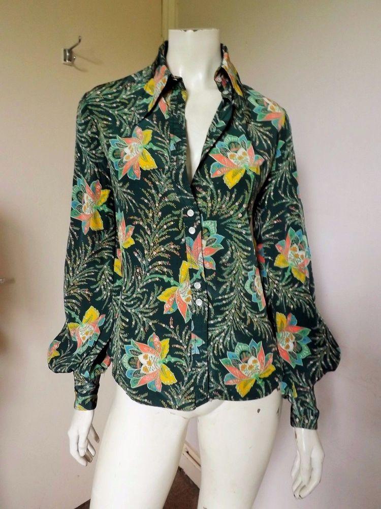 1970s blouse by Jeff Banks vintage Art Deco print