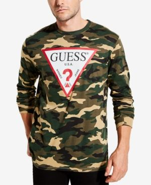 fd525f51 Guess Men's Long-Sleeve Camo Logo T-Shirt - Green S | Products ...