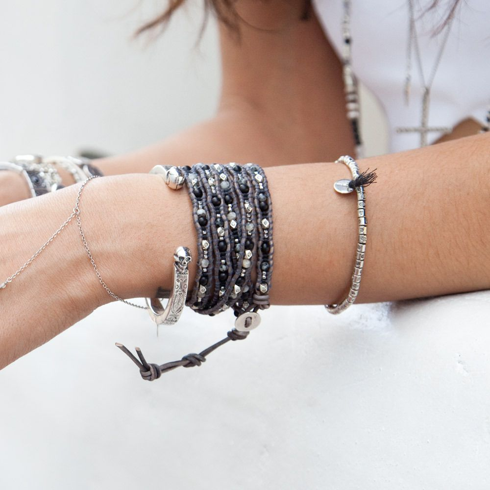Black bone mix stretch bracelet set bracelet set chan luu and
