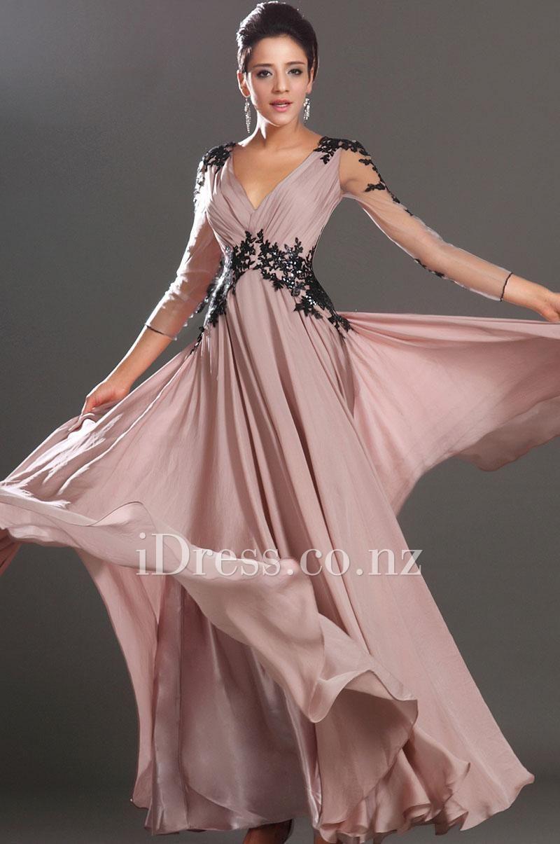 black lace v neck blush chiffon long sleeve evening dress. ball ...