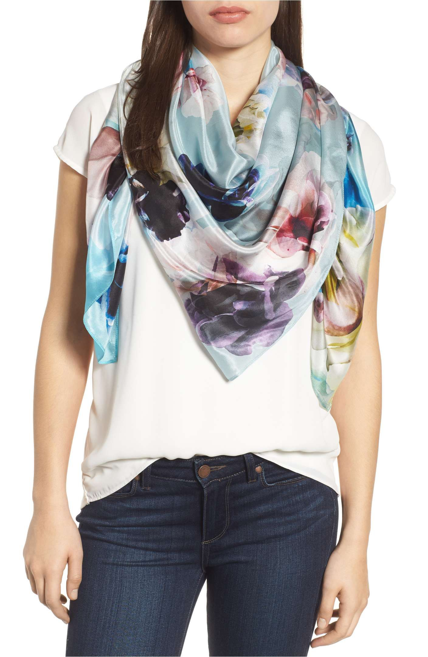 42ad3e853 Main Image - Nordstrom Print Silk Square Scarf   Clothes for spring ...