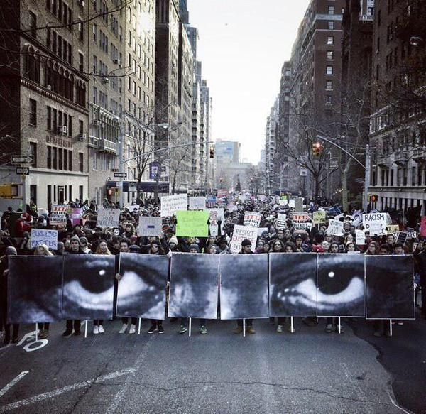 Powerful photo from #MillionsMarchNYC #ICantBreathe #EricGarner's eyes via @GenKnoxx