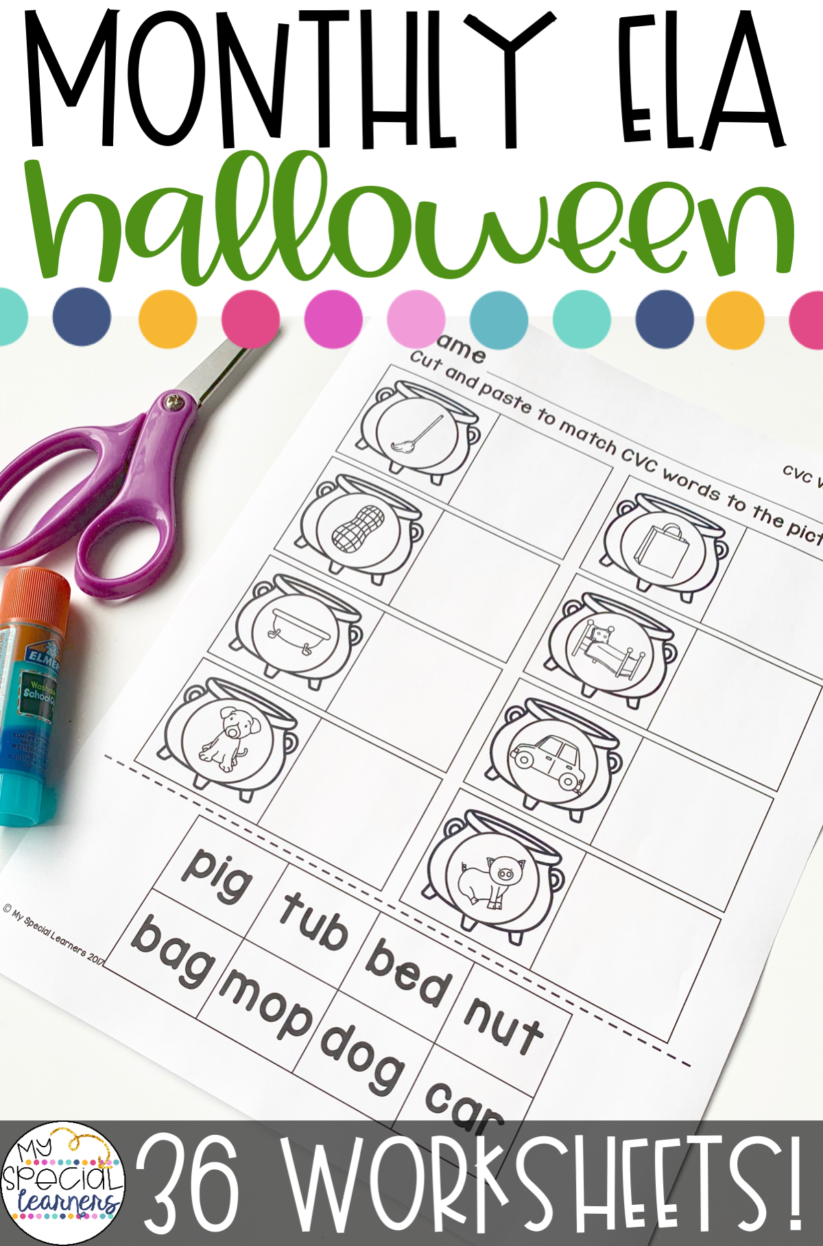 October Language Arts Printables For Special Education