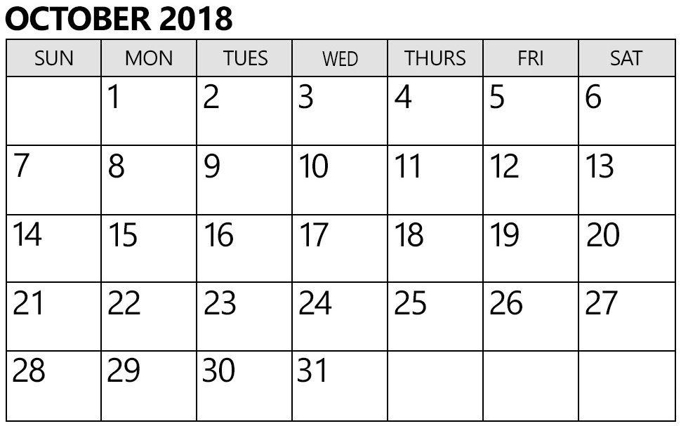 October 2018 Calendar India Monthly Design October 2018 Calendar