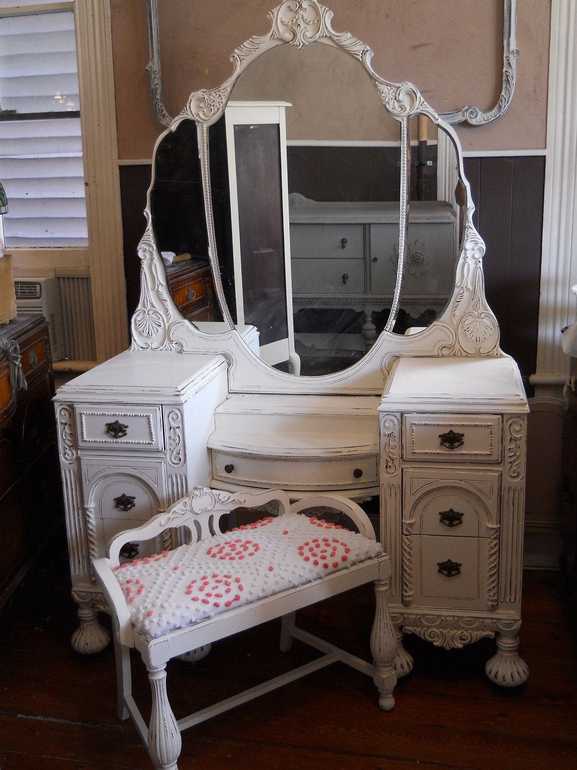 Vintage Vanity Triple Mirror and Bench Painted Distressed White Pink.  $850.00, via Etsy. - Vintage Vanity Triple Mirror And Bench Custom Reserved For Bryan