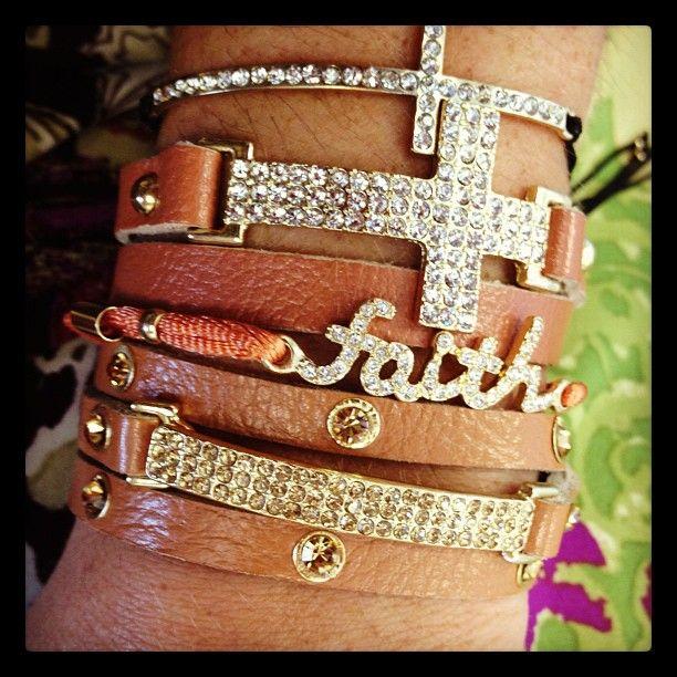 Arm swag. Faith, cross, leather bracelets