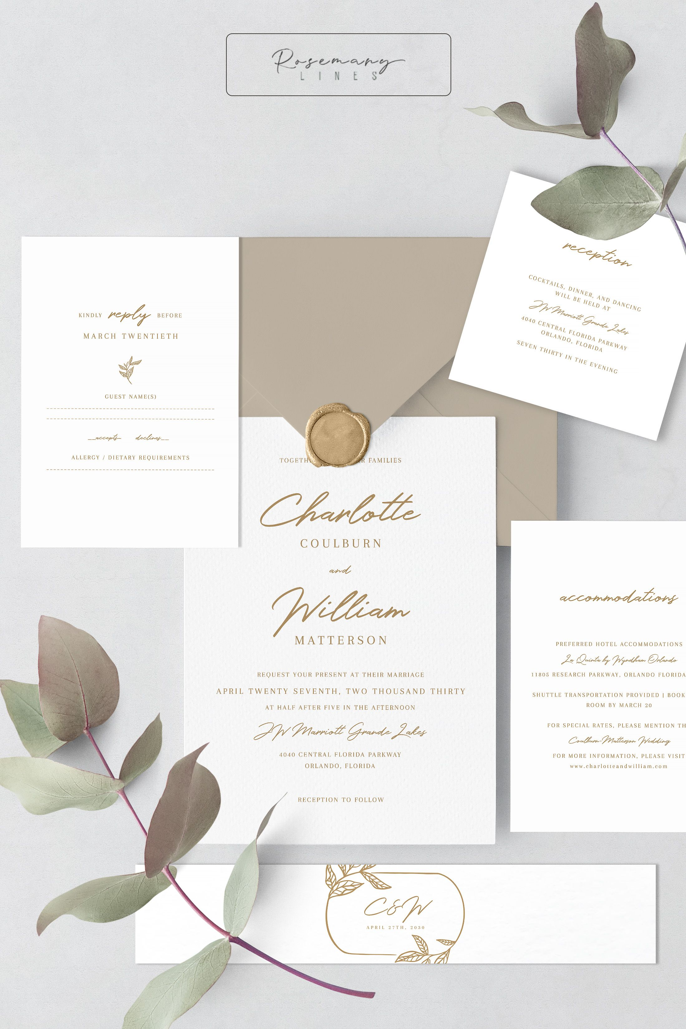 Gold Wedding Invitation Set Template Minimal Leaves Wedding Etsy Modern Calligraphy Wedding Invitation Neutral Wedding Invitation Gold Wedding Invitations Elegant
