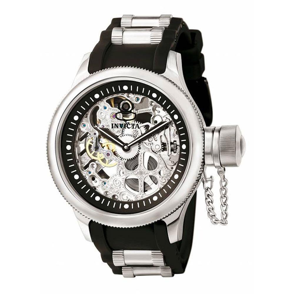 Invicta 1088 Men's Russian Diver Mechanical Skeleton Dial Black Polyurethane Watch