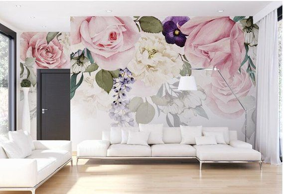 Hand Painted Black and White Rose Wallpaper Wall Mural