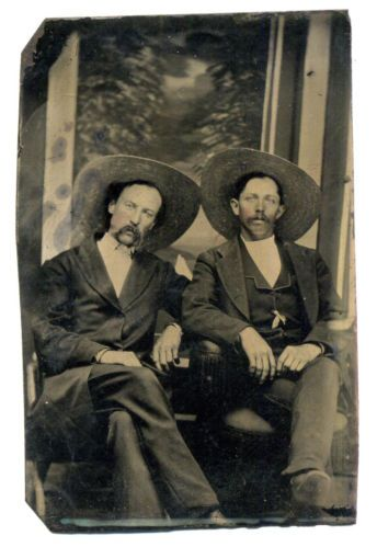 Tough Cowboys White Mexican With Droopy Mustaches Sombreros Long Hair Tintype Ebay Tintype American Legend Old West