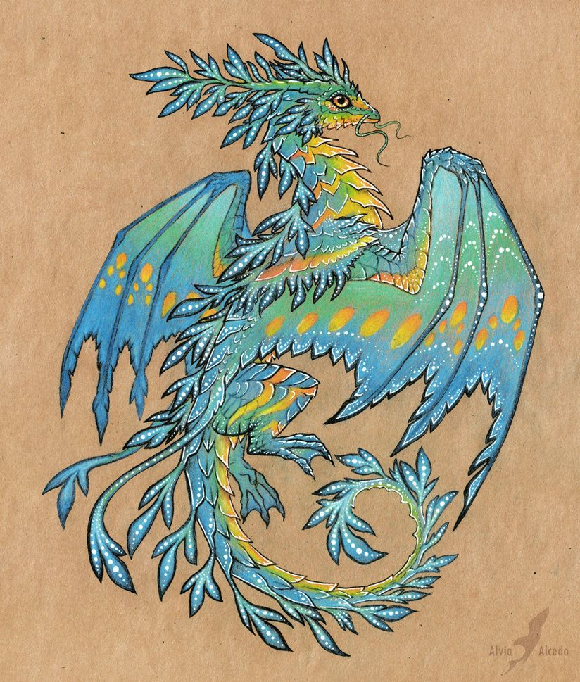 Fantasy dragon tattoo designs tropical blue sea dragon for Sea dragon tattoo