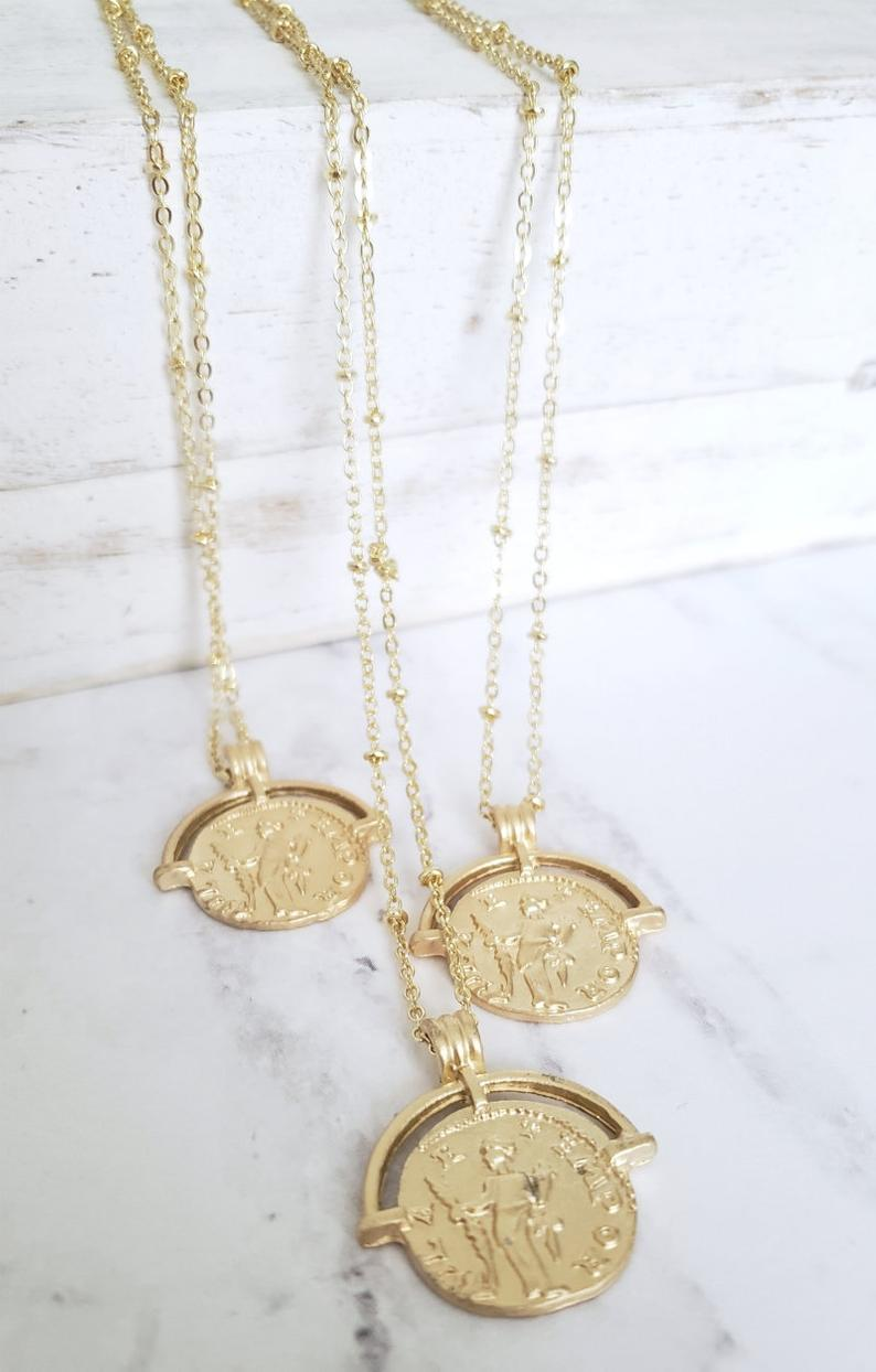 Gold plated delicate minimalist dainty coin pendant necklace boho gold rounded charm coin necklace must have gold coin jewelry  Gold coin necklace