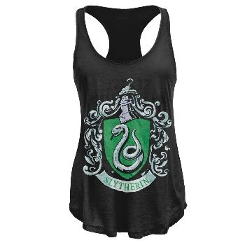 Ditch the Muggle look and throw on this black juniors tank top from Harry Potter, with the Slytherin house crest printed across the front. Made from a soft 50/50 cotton/polyester blend with loose-fit bottom and racerback design at the top, this is a light, stylish top perfect for Slytherin kids to kick back on their summer vacation.