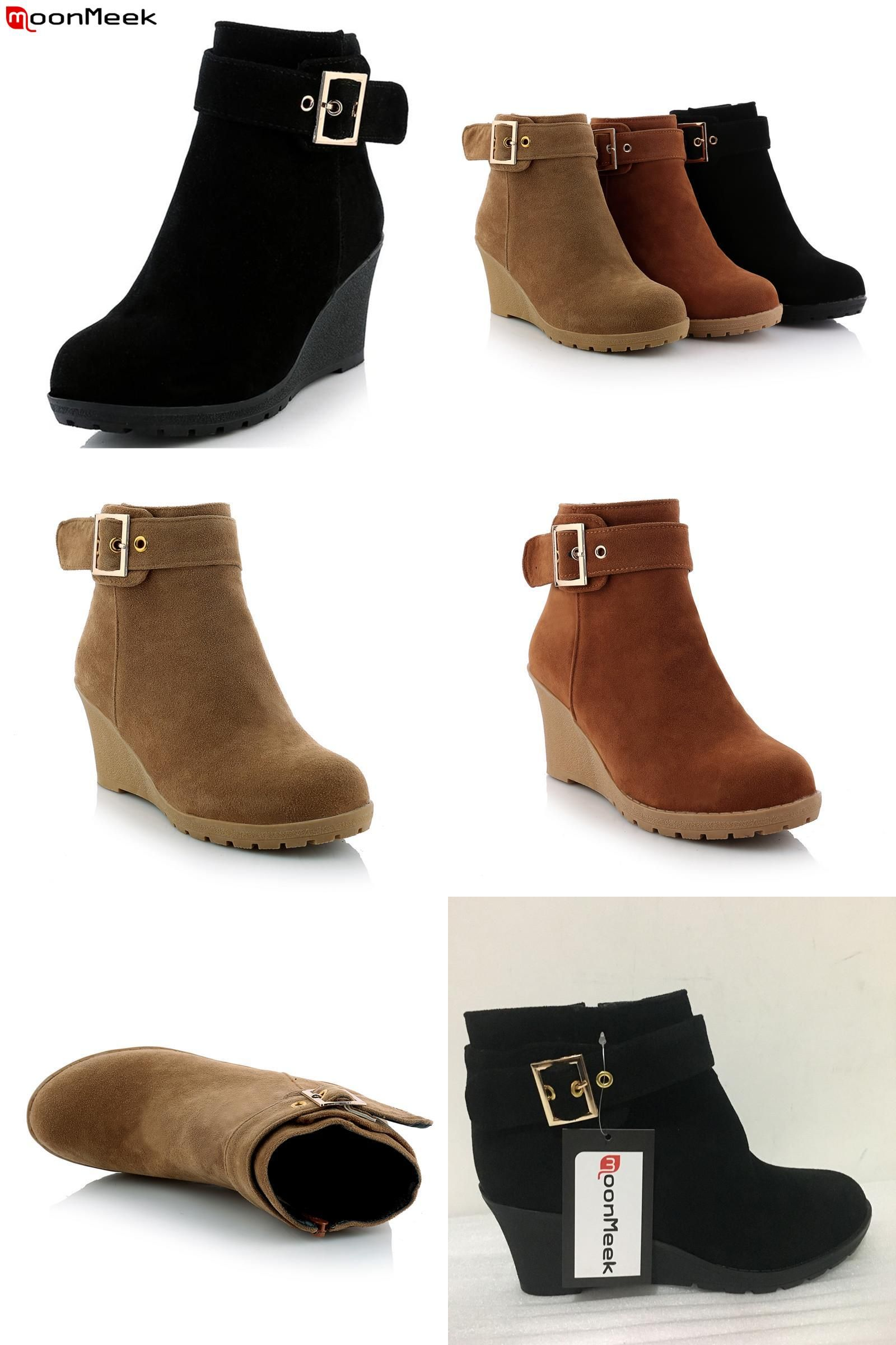65c52ddfc1b0  Visit to Buy  MoonMeek New arrive hot sale high heels wedges winter boots  fashion