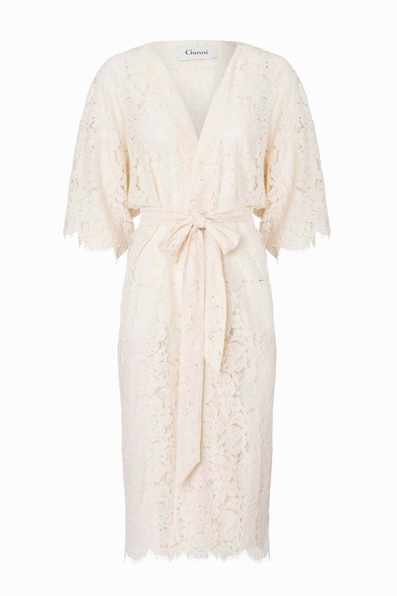 564e9cb77dd Ganni Gothic Lace - Kimono Dress (White Smoke) | Adélie | The ...