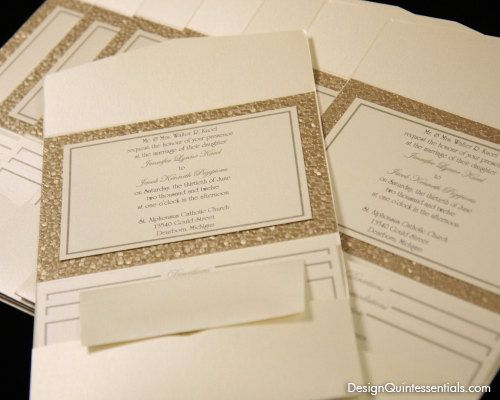 Bronze Embossed Pebble Wedding Pocket Fold Invitation Suite W Rhinestone Buckle Weddings And Design