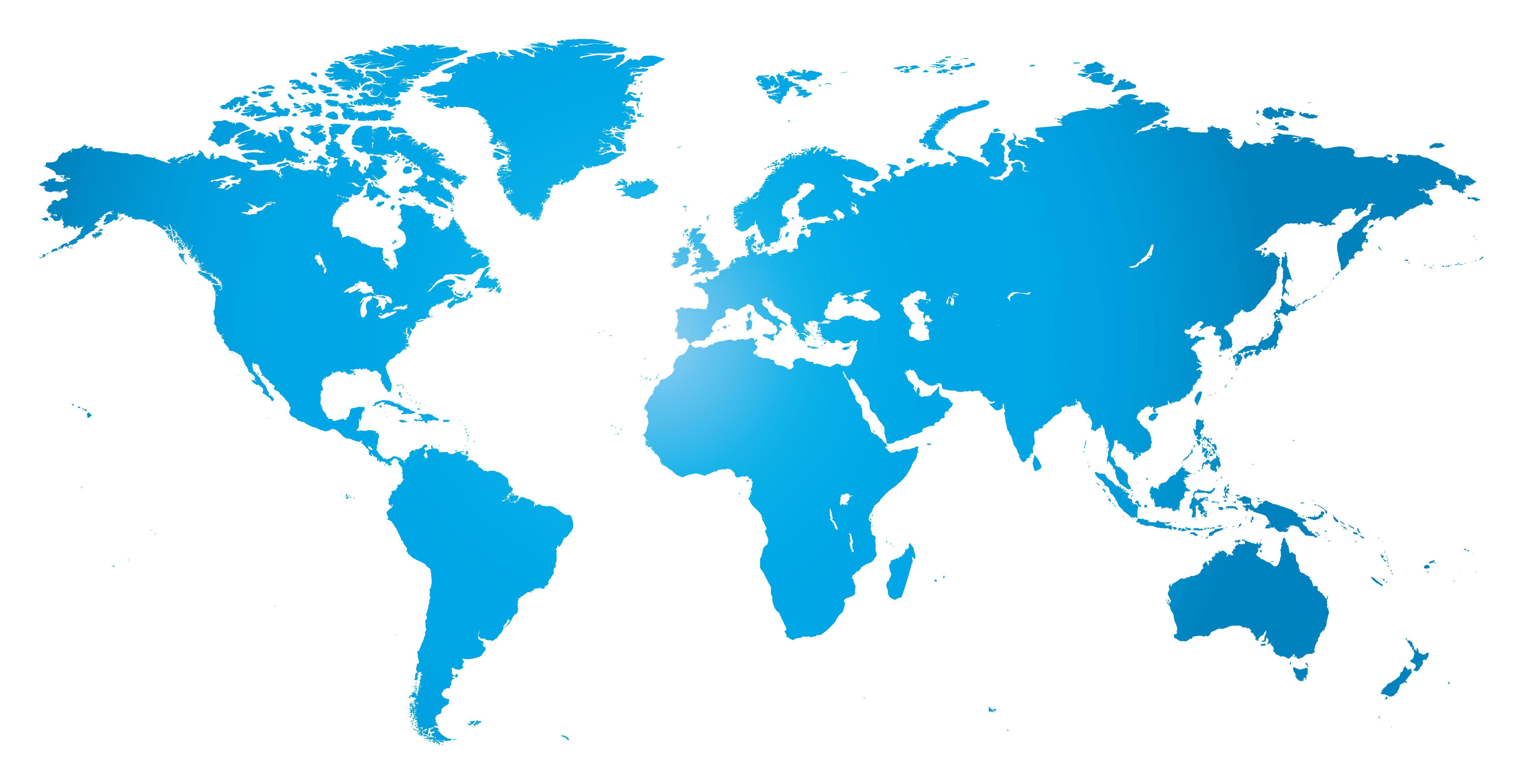 World Map Outline Blue