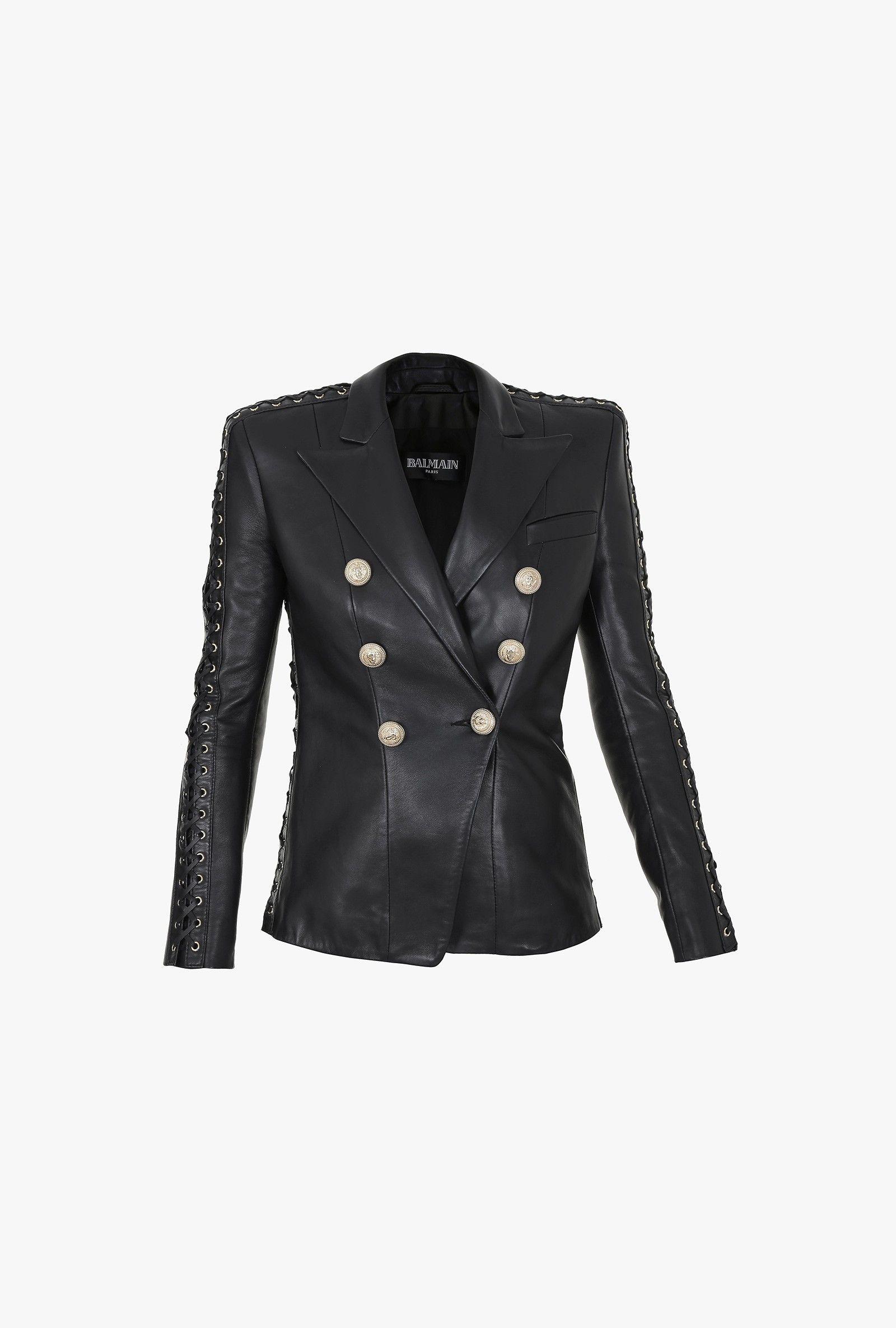 701820aa26e4 Blazer en cuir à double boutonnage   Vestes Femme   Balmain ...