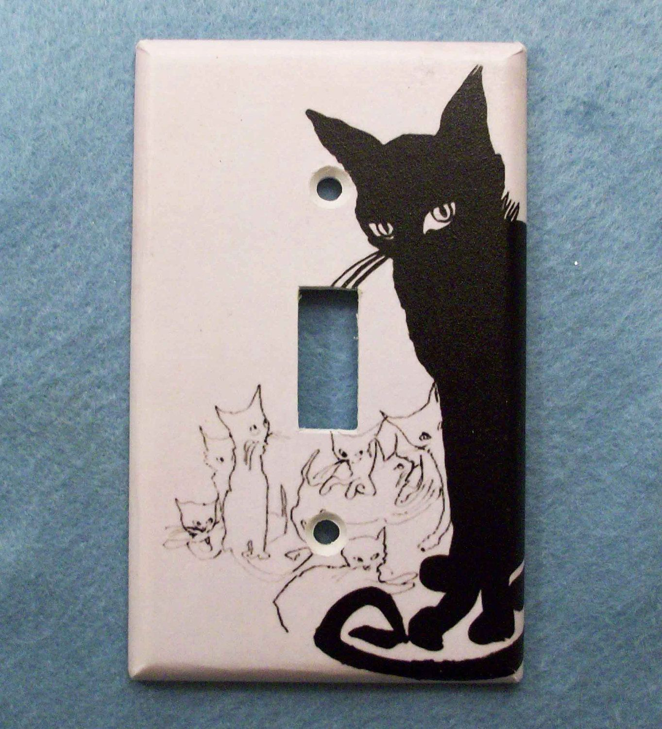 Light switch plate covers decorative - Retro Black Cat Light Switch Cover Switchplate Switch Plate 6 00 Via Etsy