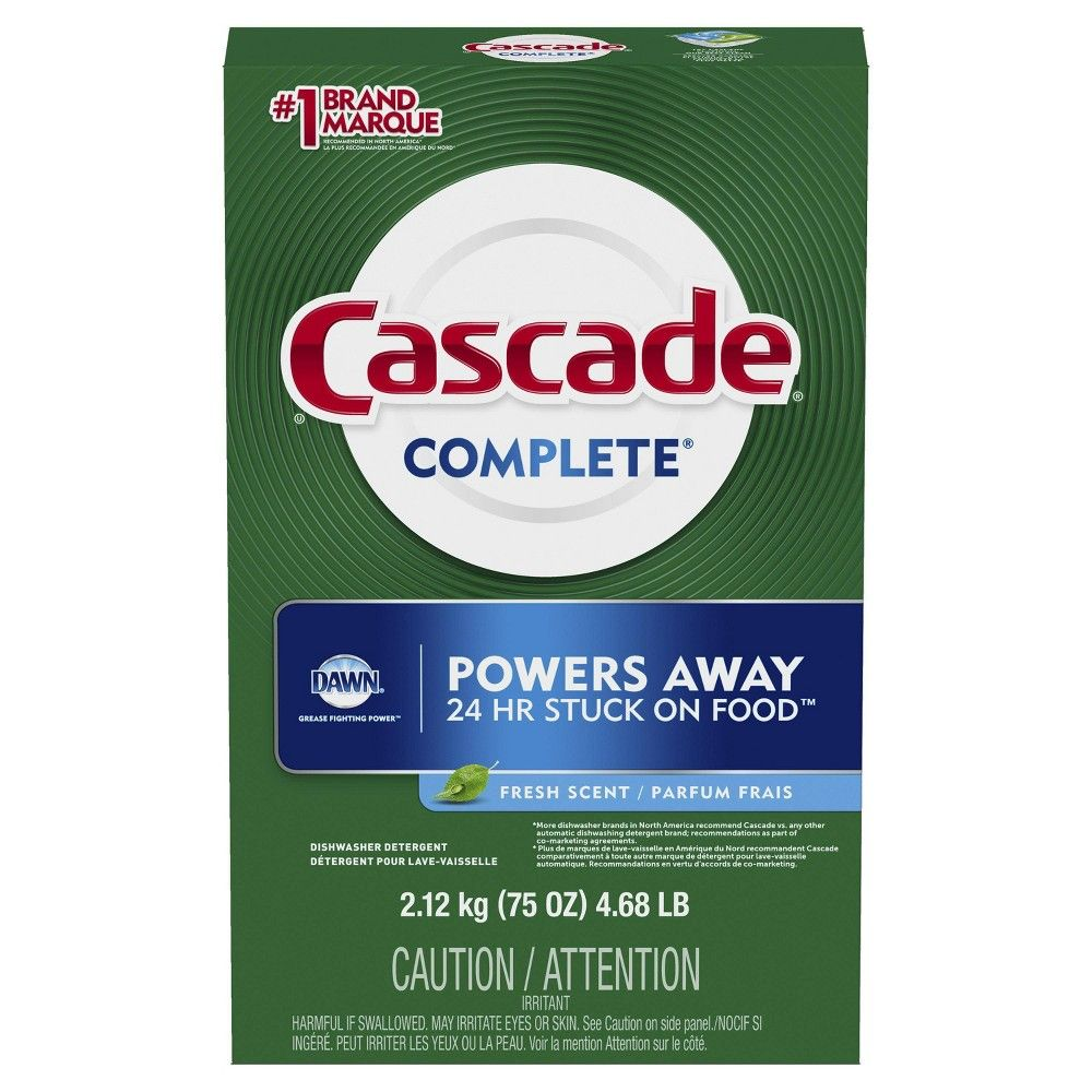 Cascade Complete Powder Dishwasher Detergent Fresh Scent 75oz