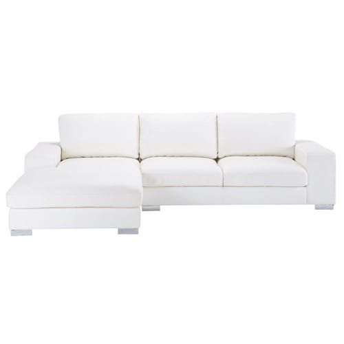 Divano ad angolo bianco in pelle 5 posti MdM   sofa and armchair ...