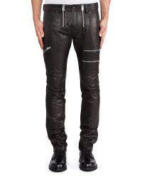 0fc881bae728 Men s Black 17.5Cm Multi Zip Leather Trousers