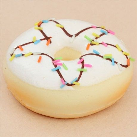 cute white icing donut with sprinkle chocolate sauce squishy kawaii