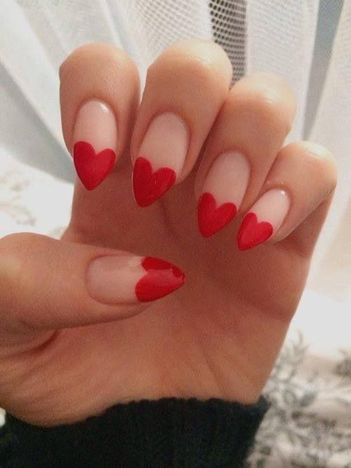 #Heart #Nails #Red