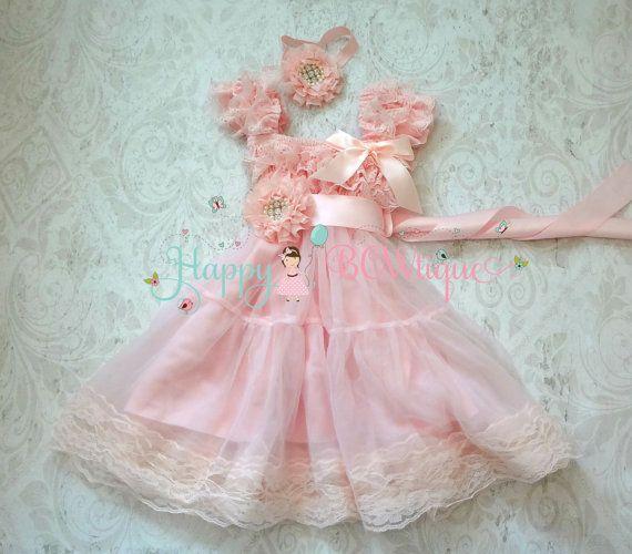Girl dress Baby Pink Chiffon Lace Dress set baby girls