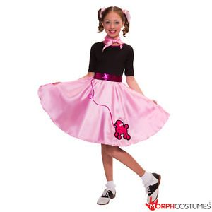 Poodle Dress Child Black /& White Spot 50/'s Childs Girls Fancy Dress Costume