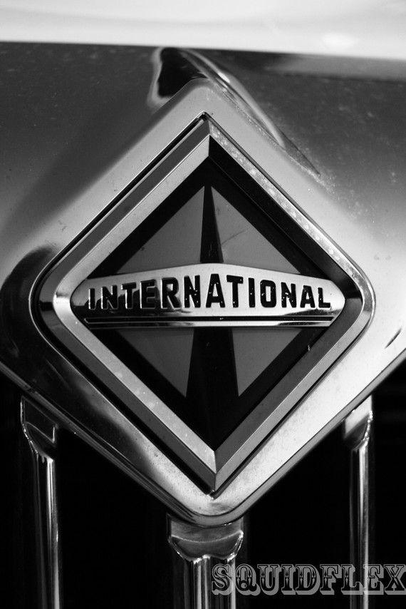 International Truck Logo 8x10 Black And White Fine Photo Print Trucks International Truck Big Trucks