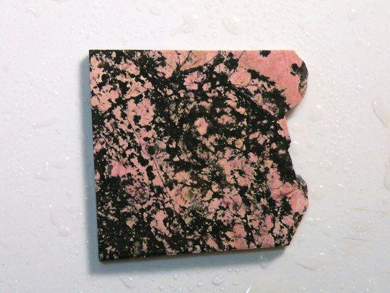 Black and Pink Rhodonite Lapidary Slab by BsJewelryandVintage