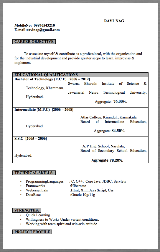 Sample Resume Engineer Format Sample resume templates
