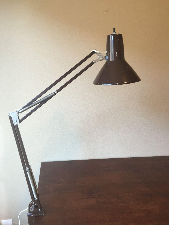 Vintage Ledu Brown Swing Arm Light, Ledu Lighting, Wasomark Desk Lamp, Drafting  Lamp