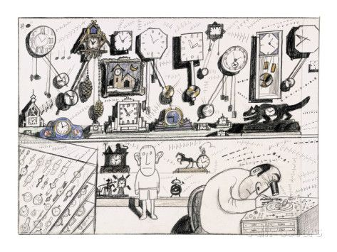 Clock maker working on clock. Various clocks on shelf and watches in displ… - New Yorker Cartoon プレミアムジクレープリント