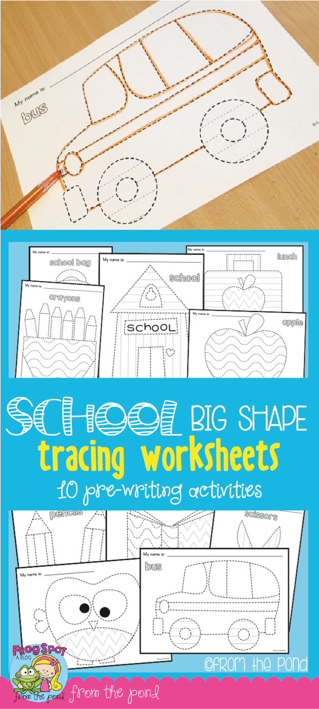Back to School Big Shape Tracing Pages | Activities, School and ...