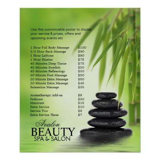 Spa Massage Poster With Stacked Stones  Bamboo  Massage Therapy
