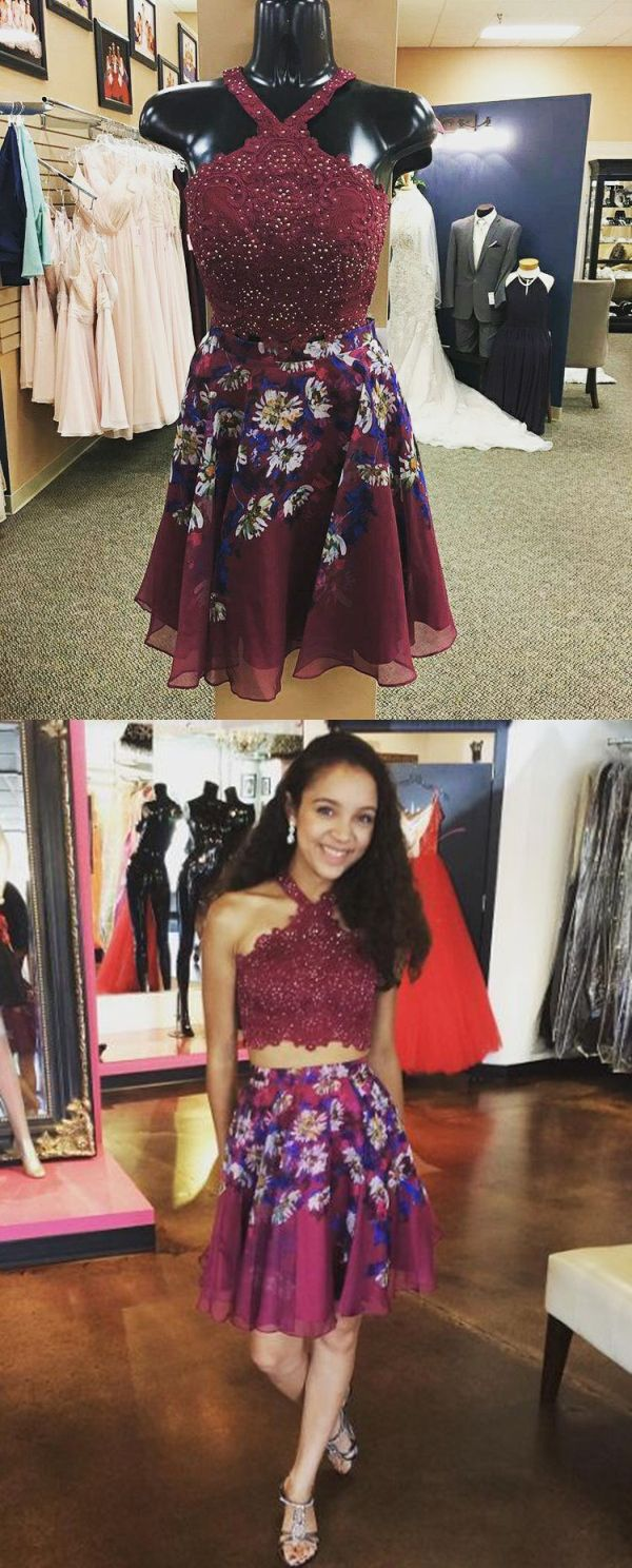 Two piece halter short maroon floral chiffon homecoming dress with