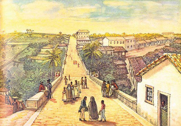 Ponte de Santa Ifigênia, 1827. Debret.
