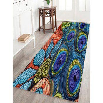 Peacock Feather Coral Velvet Door Floor Rug Floor Rugs Rugs On Carpet Rugs